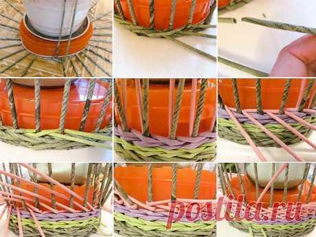 10 шагов как сделать плетеную вазу своими руками Необычную вазу для цветов из обычной бутылки или флакона можно смастерить, если оплести их нитями. Удобнее это делать из тонкой нити, предварительно ее подкрасив. Лучше, если вы возьмете сосуд причудливой формы.| BlogDIY.ru