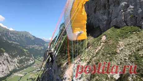 Парапланерист снял на видео собственное крушение в горах Швейцарии   Видео дня