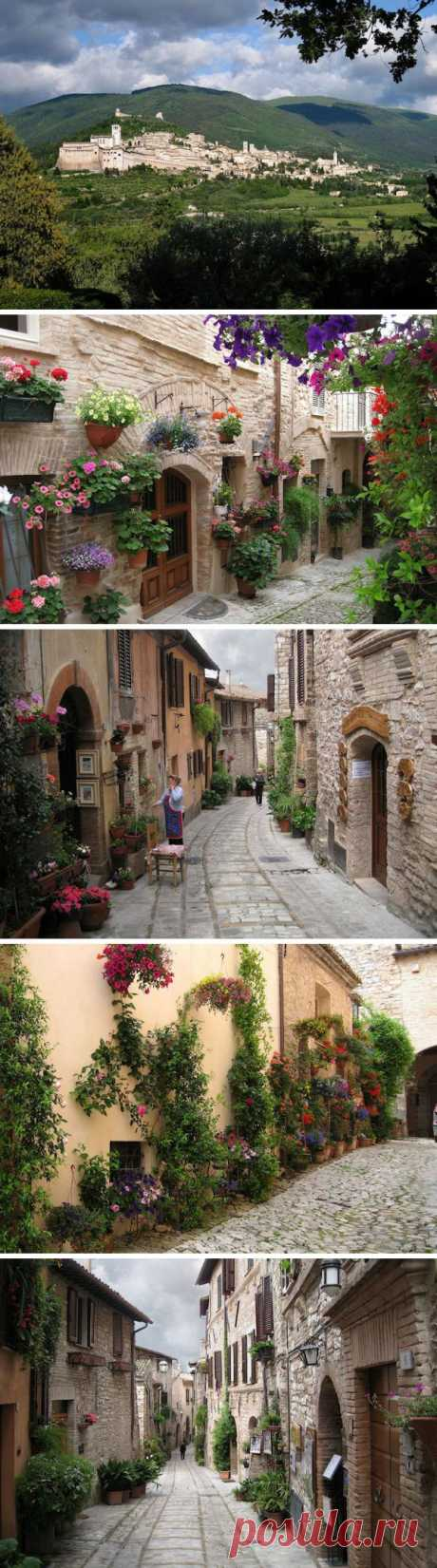The old blossoming streets of the beautiful small town of Spello, Italy
