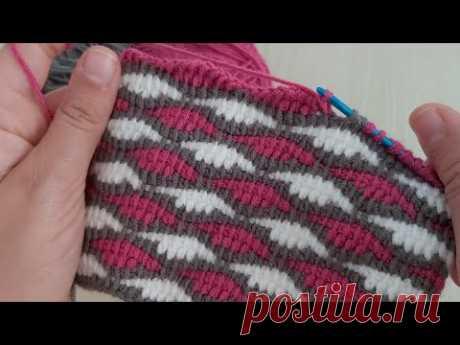 Super Easy Tunusian Crochet Knitting - Şahane Çok Kolay Tunus İşi Battaniye Yelek Modeli