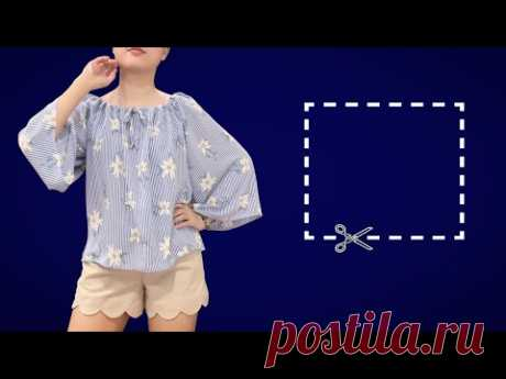 Прямоугольная блузка очень легко крой и пошив | Учебник по пошиву расклешенной блузки