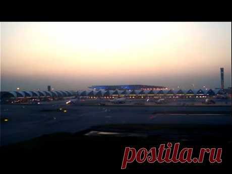 Посадка самолета Airbus A-320 в аэропорту Суварнабхуми, Бангкок - YouTube