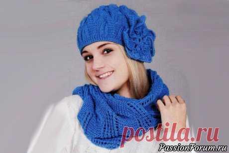 Шапка с цветком и шарф | Вязание спицами
