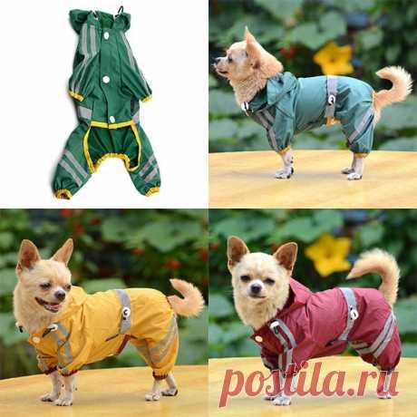 Домашнее животное собака Cat плащ одежда щенок Glisten бар толстовка водонепроницаемый дождь куртки купить на AliExpress
