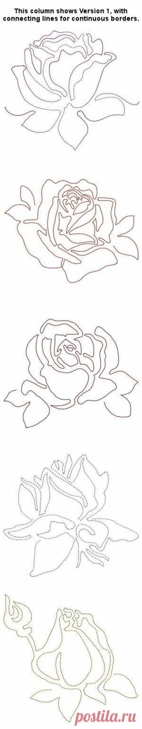 Line Work Roses, Versions 1 and 2 - Especially For You | OregonPatchWorks