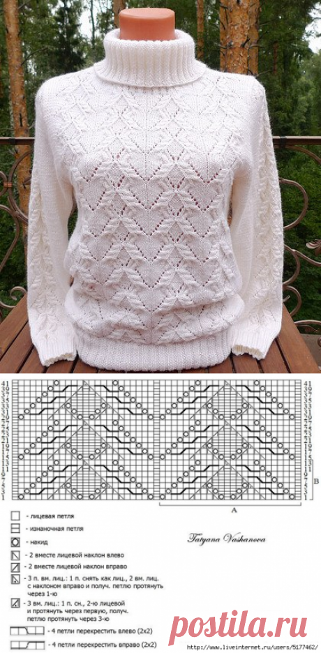 """Красивый узор для пуловера спицами. Узор """"бантики"""" вязаный спицами   Вязание для всей семьи"""