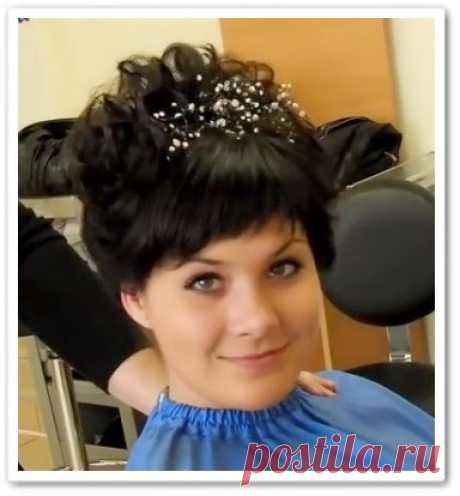 Праздничная укладка на короткие волосы (видео)