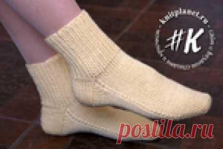 Носки на двух спицах без шва - простой способ