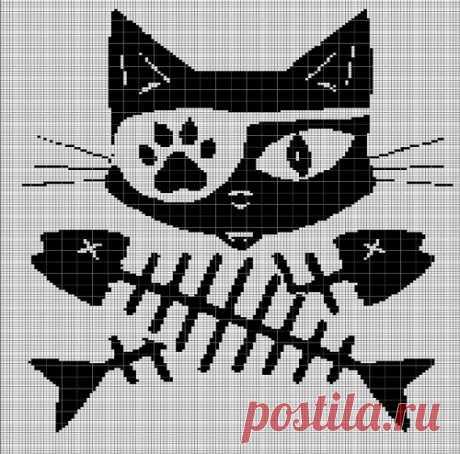 CAT SKELETON CROCHET AFGHAN PATTERN GRAPH | VandihandCrochet on ArtFire