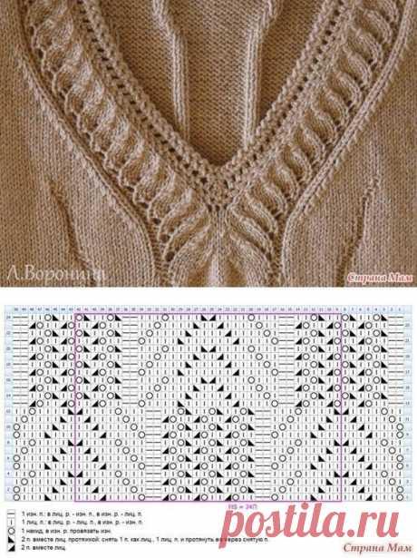 Вариант вязания горловины спицами