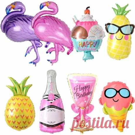 Воздушные шары на день рождения Фламинго/ананас/пивная чашка Фольга украшения из воздушных шаров на день рождения для вечерние детей взрослых партия вечерние Пляжная Вечеринка гелиевый воздух Globos купить на AliExpress