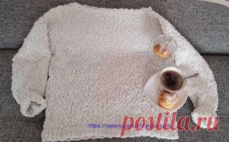 ВСЕ СВЯЗАНО. ROSOMAHA.: Белый свитер из толстой фактурной пряжи: вяжется быстро!