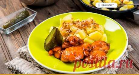 Запечённые куриные бёдра с отварным картофелем и солёными огурчиками | Что приготовить на ужин? На 100 граммов готового блюда  Энергетическая ценность: 134 ккал Белки: 7 гр. Жиры: 8 гр. Углеводы: 8 гр. Время приготовления: 25 мин. Вес одной порции: 480 гр. Рецепт на 2 порции.