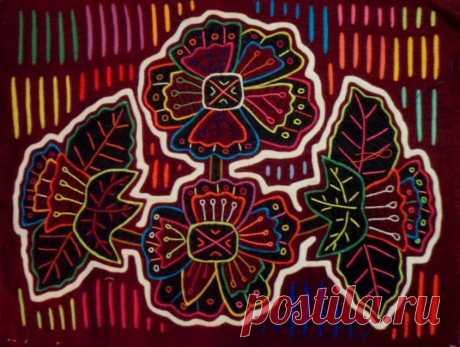Kuna Indian Hand-Stitched Magnificent Flower Mola II-Panama 18051010L | eBay