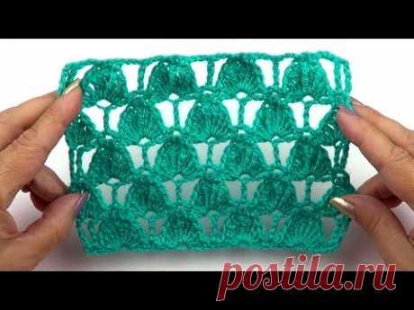 Ажурный узор из разновысоких столбиков   Openwork pattern of uneven stitches