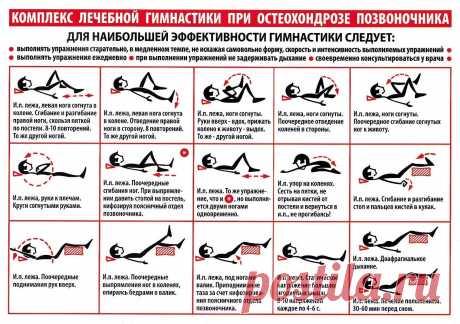 Комплекс лечебной гимнастики при остеохондрозе позвоночника