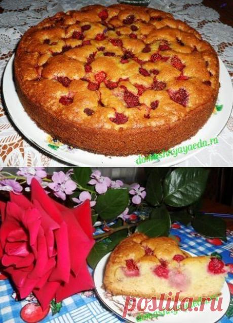 Простой пирог с клубникой | 4vkusa.ru