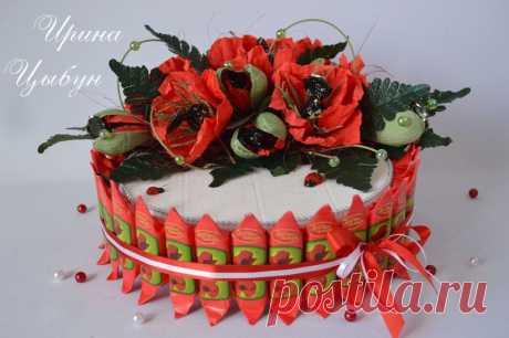 Тортик из конфет. Мастер класс от Ирины Цыбун.