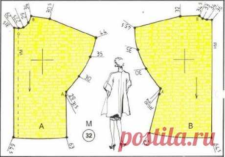 Пальто-накидка - лучевой крой. #простыевыкройки #простыевещи #шитье #пальто #накидка #выкройка