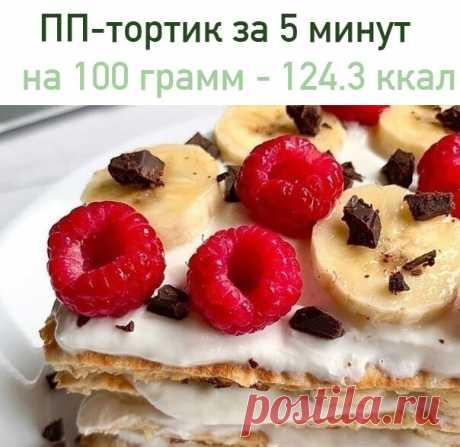 ПП-тортик за 5 минут    на 100 грамм - 124.3 ккал Б/Ж/У - 8.12/5.01/11.22   Ингредиенты: Овсянка 35 гр. (по желанию, можно измельчить её блендером) Молоко 30 гр. Яйцо 1 шт.  Для начинки: Мягкий творог 100 гр. Подсластитель по вкусу Банан (половинка) и ягоды  Приготовление: Смешиваем все ингредиенты для теста. Готовим блинчик на хорошо разогретой сковороде, под закрытой крышкой. Для крема: смешиваем творог и подсластитель. Банан нарезаем кусочками. Блинчик разрезаем на 4 ча...