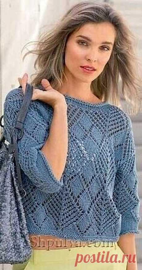 Пуловер из ажурных ромбов спицами Пуловер из ажурных ромбов спицами #спицы #вязаный_узор #узор_спицами #вязаный_джемпер #вязаный_пуловер   Размер: 36-40 (44-49)  Вам потребуется: пряжа (78% хлопка, 22% полиестера, 100 м/50 г) 300(400) г серо-голубой, спицы № 5,5, круговые спицы № 5,5.  Узоры для вязания пуловера  Узор 1: платочная вязка – лицевые и изнаночные ряды – лицевые петли.  Узор 2: ажурные ромбы (число петель кратно 2 + 1 + 2 кром.) = вязать согласно схеме. На ней...