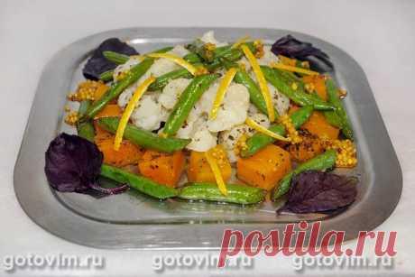 Салат из стручковой фасоли с тыквой и цветной капустой. Рецепт с фото В рецепте овощного салата удачно сочетаются сладость тыквы и острота горчичной заправки. Овощи для салата - цветную капусту и зеленую стручковую фасоль - лучше слегка недоварить, чтобы в готовом блюде они слегка похрустывали. Так будет вкуснее и полезнее.