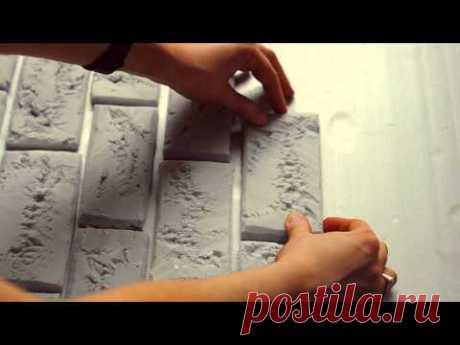 мастер-класс : кирпичная стена из пенопласта | DIY brick wall of foam
