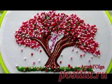 Sakura: Japanese Cherry Blossom Tree Embroidery |Arbol de cerezo bordado a mano|Artesd'Olga - YouTube