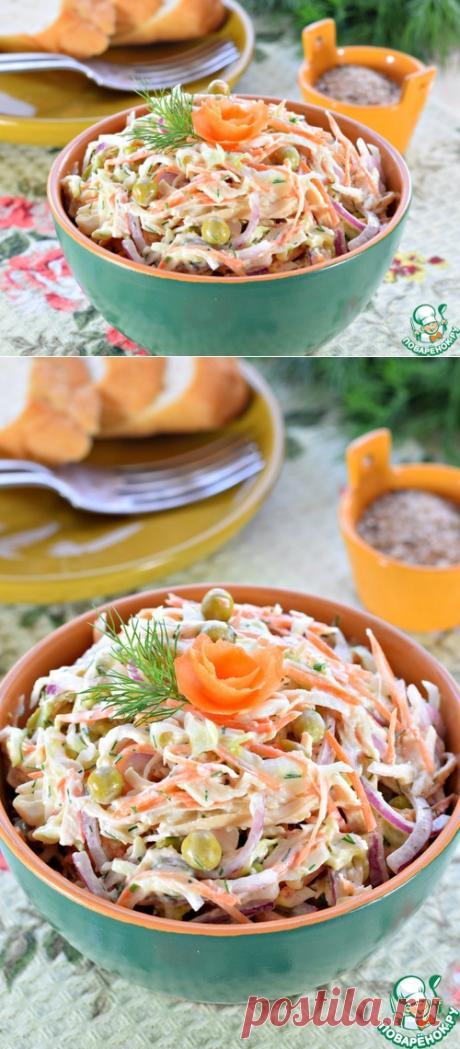 Салат из молодой капусты с курицей - кулинарный рецепт