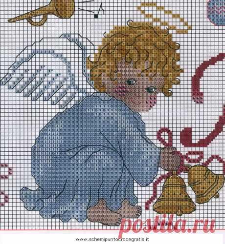 Natale_angeli_57 бесплатная схема вышивки крестом для печати