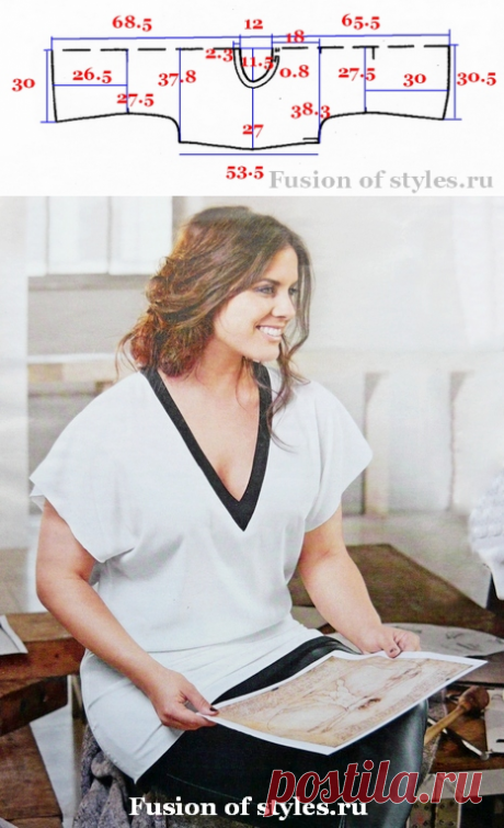 Летняя блуза с цельнокроеным коротким рукавом | Всё о моде, стиле, шитье и рукоделии СЛИЯНИЕ СТИЛЕЙ