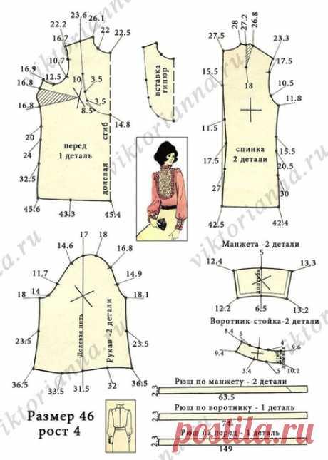 Блуза с воротником стойкой и кружевной вставкой (выкройка – схема) #Ретро_выкройки  Название фасона: блуза с воротником стойкой и кружевной вставкой.  Из истории фасона: данная модель блузы разработана Ленинградским домом моделей одежды и опубликована 1972 году. Она должна была создать женственный и романтичный образ молодой уверенной в себе советской женщины. Блуза без пуговиц и изящным кружевом на груди была смелой и оригинальной моделью, сочетающей классическую элегантн...