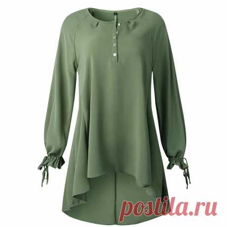 Однотонная женская рубашка, асимметричная Осенняя блузка, рубашка для женщин, свободные блузы на пуговицах с круглым вырезом, модные женские топы | Блузки и рубашки
