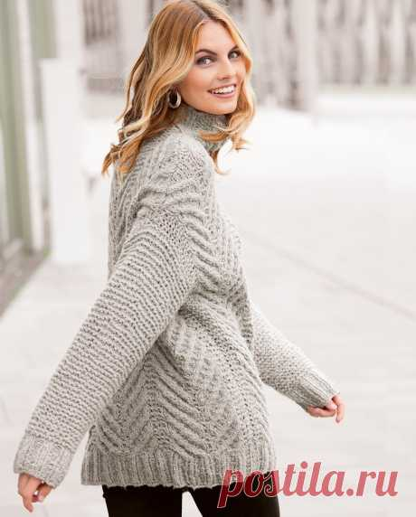 Удлиненный свитер с широкими косами - схема вязания спицами с описанием на Verena.ru