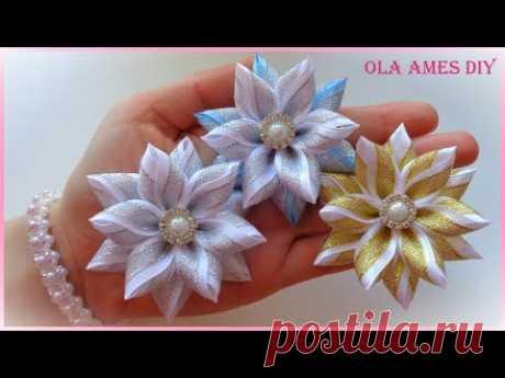 Цветы из узкой ленты/ Канзаши/ Hair Flower Tutorial/DIY Ribbon Flowers/ Flores de fitas/Ola ameS DIY
