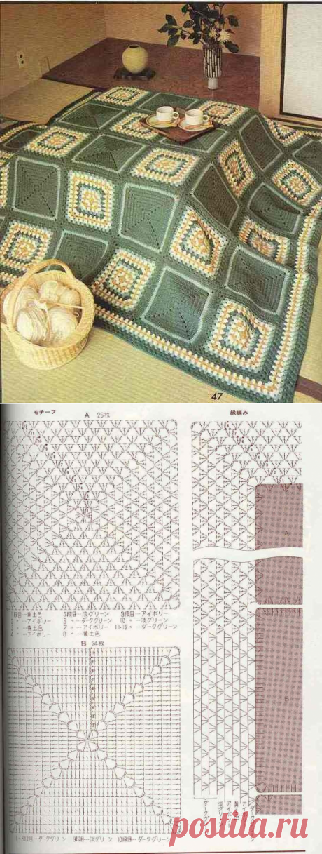 Plaid from motifs, crochet .. Discussão sobre LiveInternet - Russian Online Diaries Service