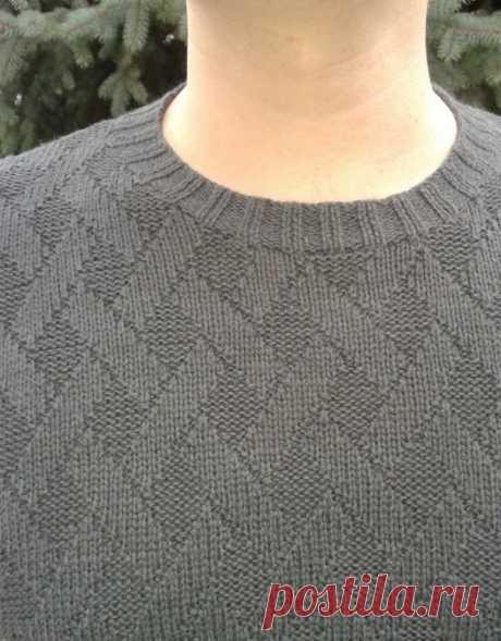 Вязание на спицах - Вяжем мужчинам - Мужской джемпер теневым узором