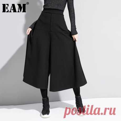 [EAM] Черные Короткие Длинные широкие брюки с высокой эластичной талией, новые свободные брюки для женщин, модные весенне осенние брюки 2020 1DA610|Брюки