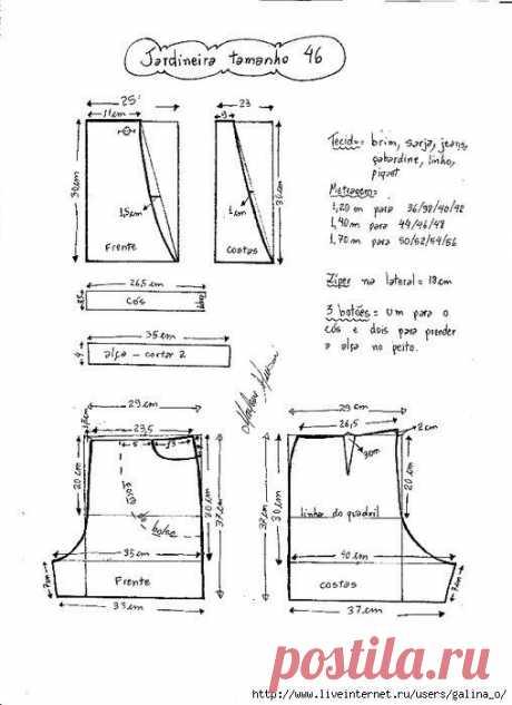 Выкройка летнего джинсового комбинезона (Шитье и крой) – Журнал Вдохновение Рукодельницы
