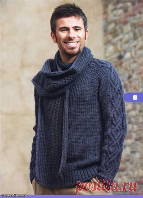 Пуловер и шарф, мужчинам из категории Интересные идеи – Вязаные идеи, идеи для вязания