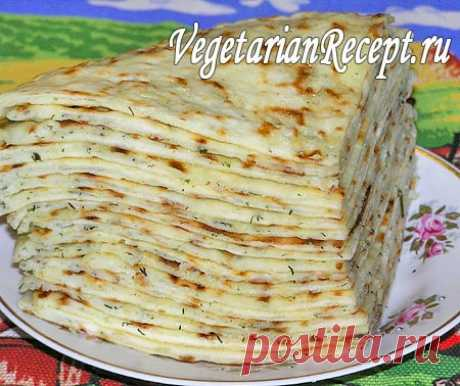 Very tasty thin Balkar hychina with potatoes, cheese and greens stuffing