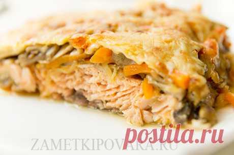 Запеченная горбуша с грибами и сыром | Простые кулинарные рецепты с фотографиями