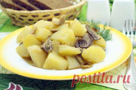Тушеная картошка с грибами. Постное