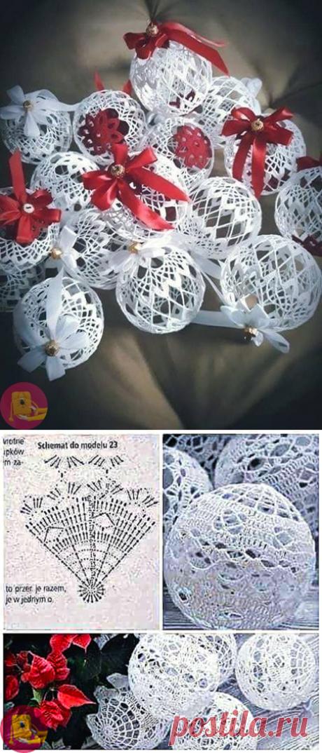 Ёлочные шары крючком для создания воздушного Рождественского настроения — Сделай сам, идеи для творчества - DIY Ideas