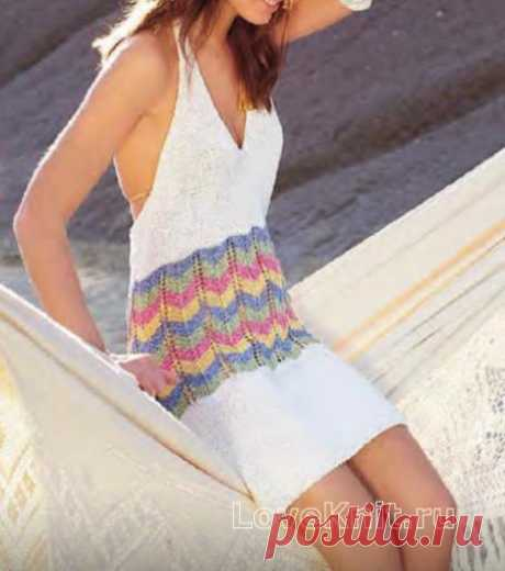Платье-сарафан с открытой спиной схема спицами