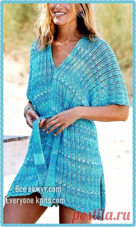 Подборка летних вязанных платьев. Часть 1. 10 моделей для спицами с описанием вязания. | Все вяжут.соm/Everyone knits.com | Яндекс Дзен