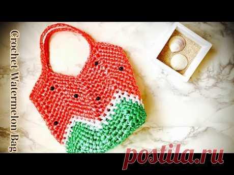 スイカのミニバッグ【かぎ針編み】グラニーバッグの編み方 ✩ Crochet Granny  Bag