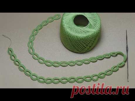 La lección de la labor de punto del ENCAJE DE CINTA - los ANILLITOS - Crochet Simple Lace - como tejer la cinta el cordón