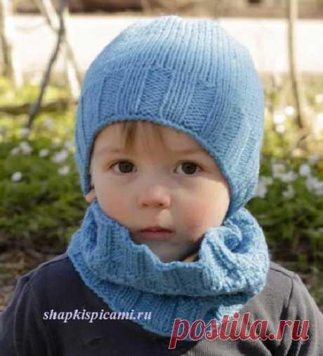 Вязаный комплект для мальчика из шапочки и снуда от Дропс Дизайн. С описанием вязания