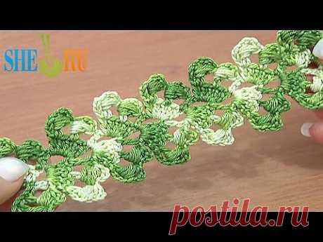 ▶ Ажурный шнур или лента Урок 7 Вязаный крючком широкий шнур - YouTube